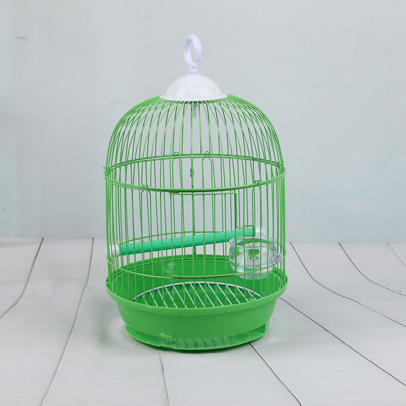 Budgerigar bird cage iron thrush embroidery myrtle stainless steel bird cage small round cage parrot cage