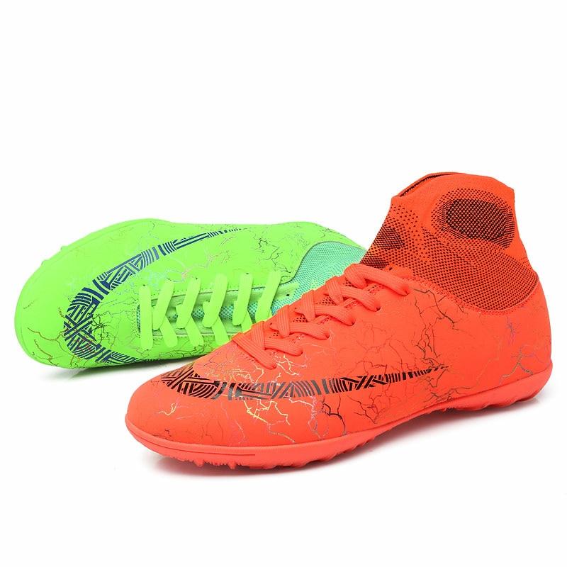 Sıcak satış erkek futbol Cleats yüksek ayak bileği futbol ayakkabısı uzun sivri açık eğitim botları erkekler kadınlar futbol ayakkabı Chuteira Futebol
