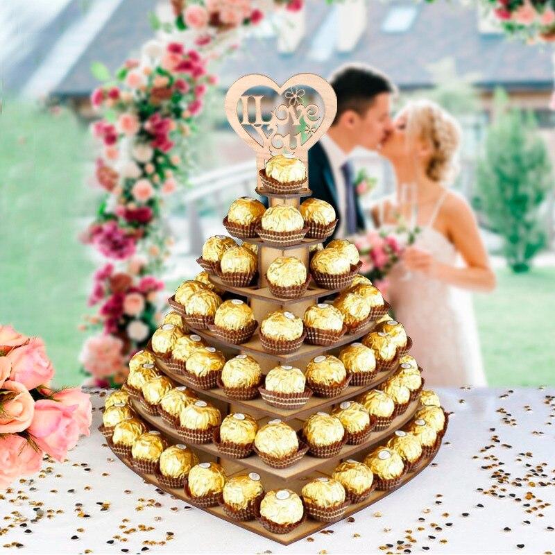 Staraise 7  Tiers Wooden Heart-shaped Personalised Mr & Mrs Ferrero Rocher Pyramid Wedding Chocolate Dessert Candy Display Stand