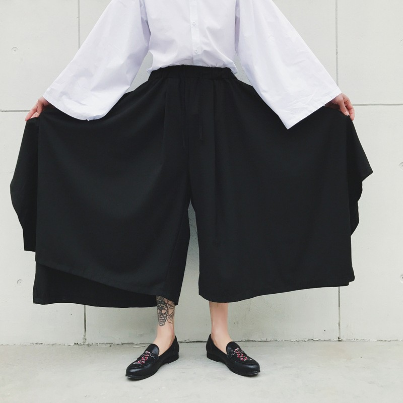 Spring Harajuku Mens Baggy Ankle Length Flare Wide Leg Irregular Pantskirt Loose Fit Elastic Waist Harem Pants Plus Size 14