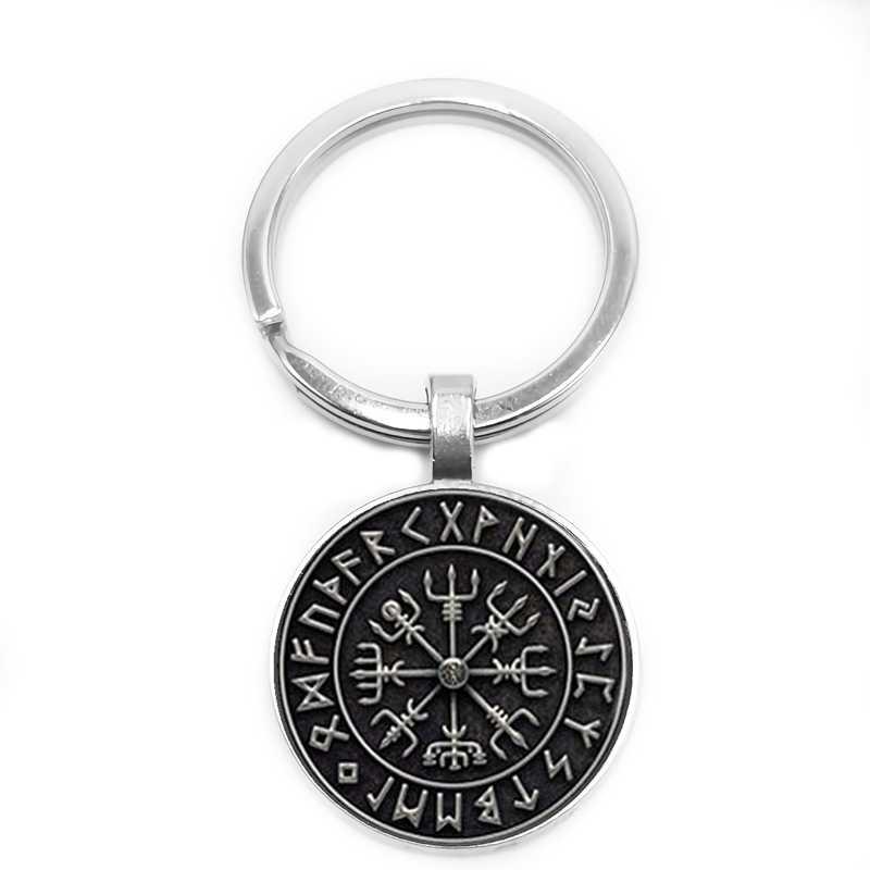 2019 ใหม่ Vegvisir Viking เข็มทิศแก้ว Cabochon พวงกุญแจกุญแจรถพวงกุญแจรถเครื่องประดับจี้ของขวัญ