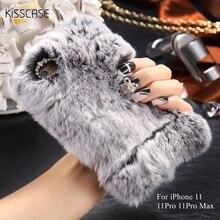 KISSCASE Rabbit Fur Case For iPhone 11 11Pro Max Glitter Cases X XS 5 5s 6 6S 7 8 6Plus 7Plus 8Plus Fundas
