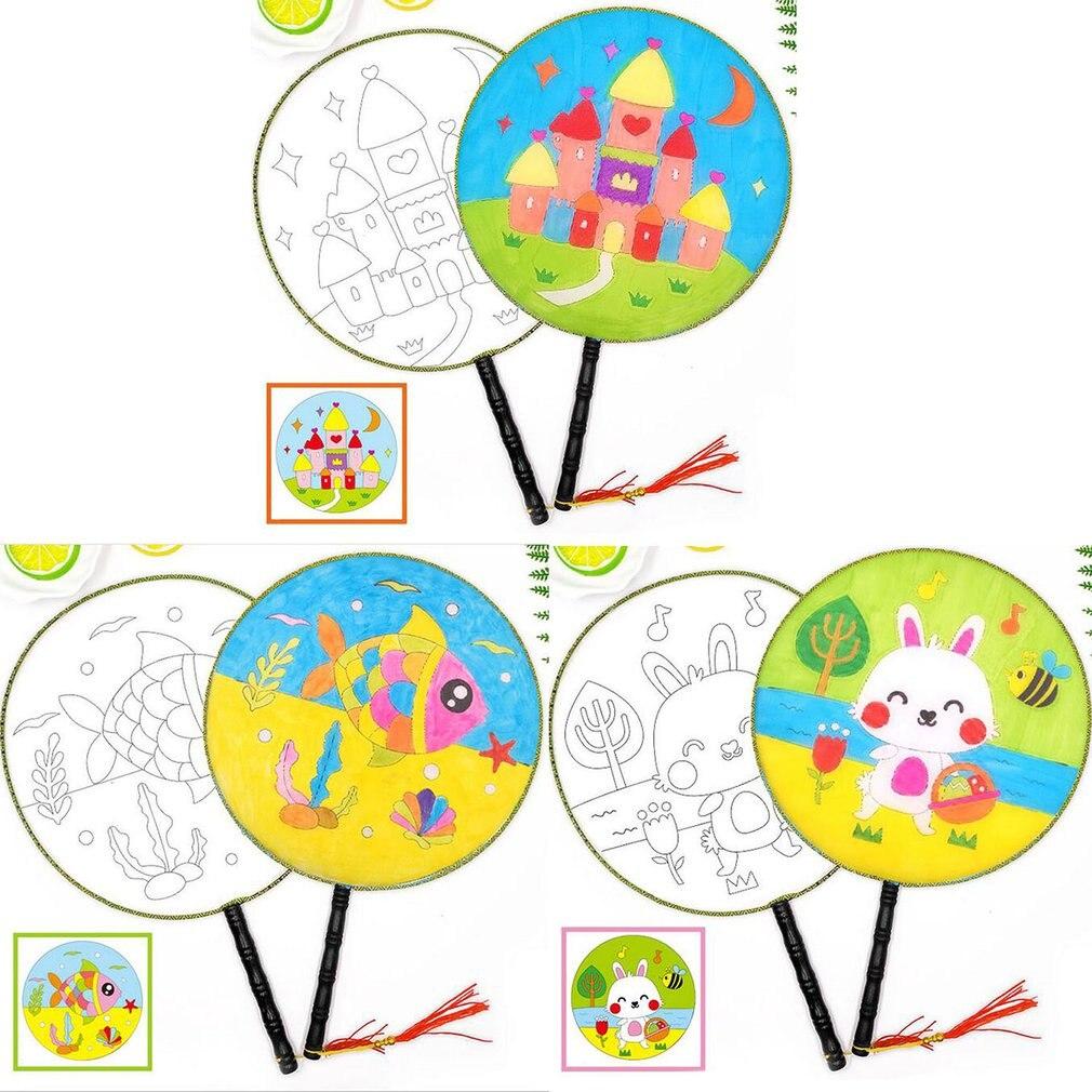 Round Children Diy Hand-painted Blank Fan Painting White Fan Palace Fan Cool Fan Kindergarten Creative Art Materials New