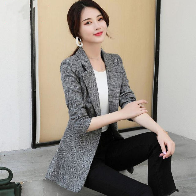 PEONFLY Vintage Office Lady Notched Collar Plaid Women Blazer Single Button Autumn Jacket 2021 Casual Pockets Female Suits Coat 5
