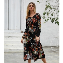 Women Retro Floral Printed Dress Fashion Long Sleeve V Neck Sexy Split Dresses Autumn Winter Elegant Party Vestidos  De