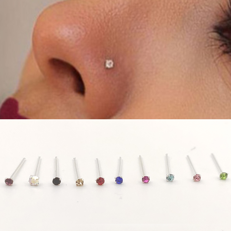 Tiny Nose Stud With 1 5 Mm Multi Color Crystal 925 Sterling Silver