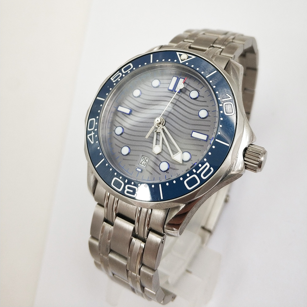 Automatic Mechanical Watch Men Ceramic Bezel Date Waterproof Luminous Stainless Steel solid Bangle 41mm Blue Dial Watch