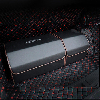 Universal PU Leather Car Trunk Organizer Box Storage Bag Auto Trash Tool Bag  Folding Large Cargo Storage Stowing Tidying new car multi pocket organizer black trunk toy food folding storage truck cargo container bag box auto accessory stowing tidying