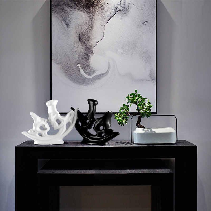 Moderne Keramik Weiß Schwarz Kissing Paar Ornamente Hotel wohnzimmer Tisch Liebhaber Figuren Handwerk Einrichtungs Dekoration