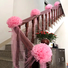 Yarn Paper Flowers Suit Stairs Decoration Holiday Supplies G