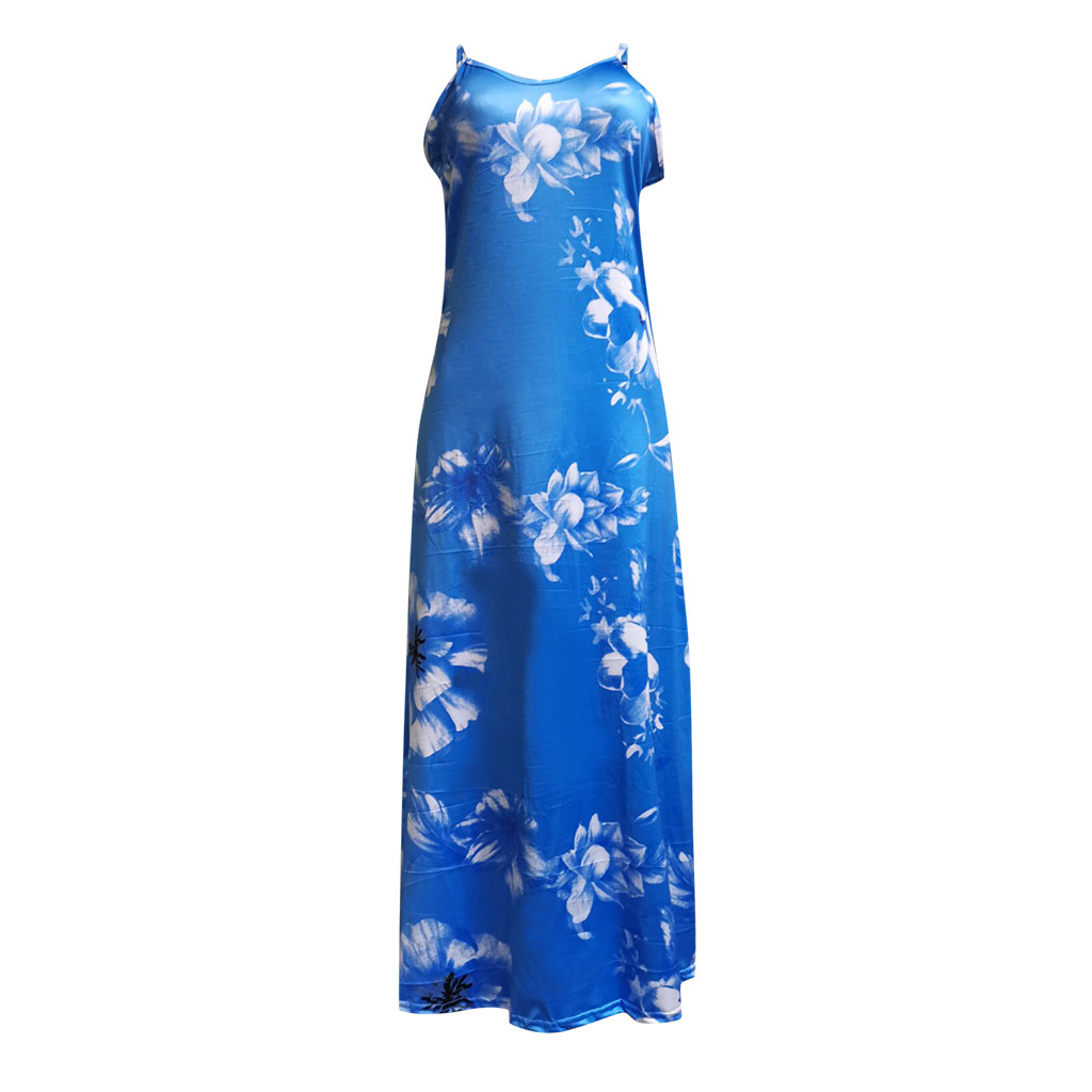 Womens Plus Size Dress Sexy Floral Print Sleeveless V Neck Sling Long Dress Casual Evening Party