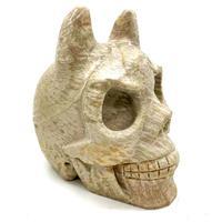 4''Natural Carved Crystal Skulls Folk Crafts Art Sculpture Evil Jasper Skulls For Sale