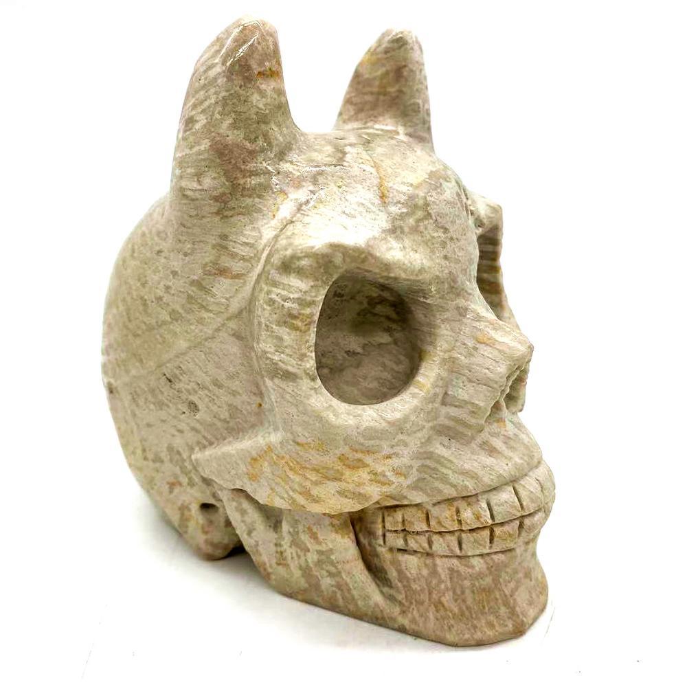4''Natural crâne de cristal sculpté artisanat folklorique Art Sculpture mal jaspe crânes à vendre