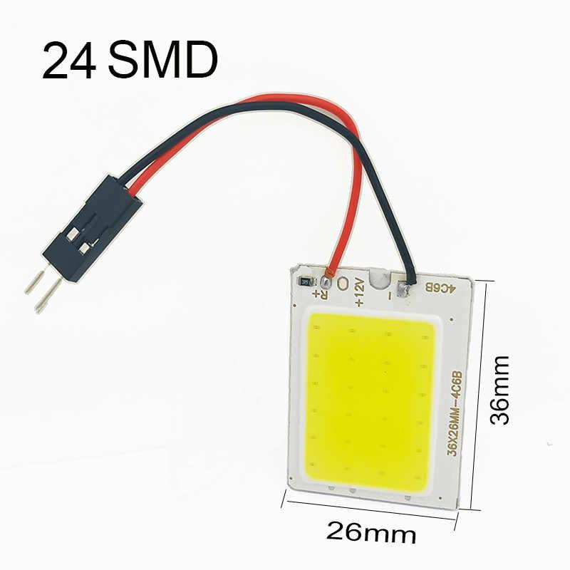 Promosi Putih T10 W5w Cob 24SMD 36SMD 48SMD Led Mobil Auto Interior Membaca Lampu Bohlam Lampu Kubah Dihiasi Panel Kendaraan lampu 1Pcs