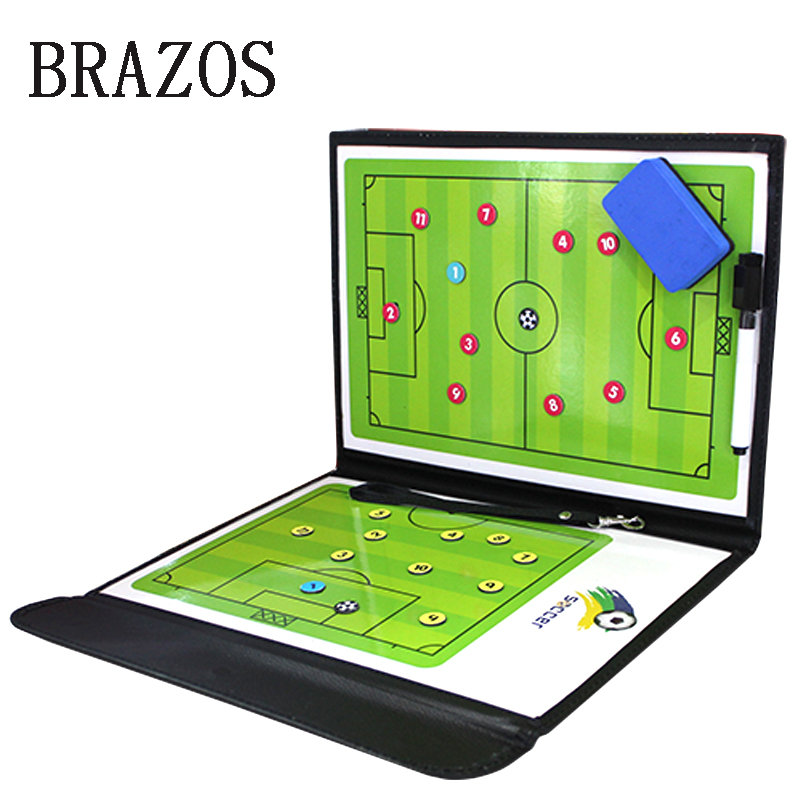 Foldable PU Soccer Tactical Board Coaching Coach Tactic Board Game Portable Football Training Ball Tactics Magnetic Clipboard