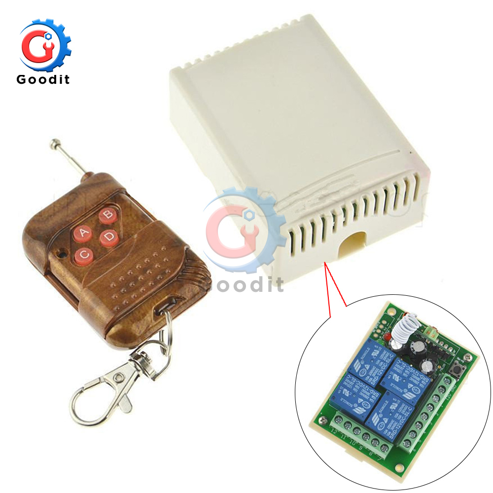 433Mhz Universal Wireless Remote Control Switch DC <font><b>12V</b></font> <font><b>4CH</b></font> <font><b>relay</b></font> Receiver <font><b>Module</b></font> With 4 channel RF Remote 433 Mhz Transmitter image