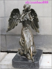 "Envío gratis 10 ""DECO ART bronce Angel tocar la flauta estatua alado Angel belle(China)"