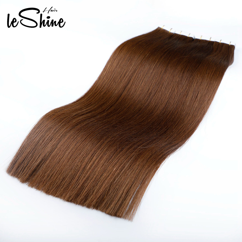 Leshine Remy Tape In Extensions Human Hair Skin Weft Hair Extensions Hair Extension Tape Adhesive 14''18''20'' Brown Color