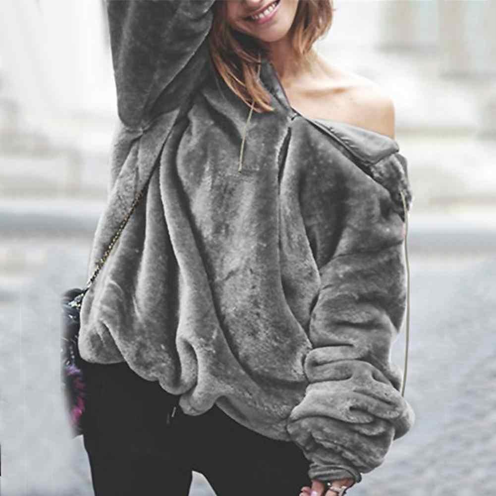 스웨터 여성 양털 후드 겨울 느슨한 긴 소매 모피 풀오버 가을 겨울 따뜻한 플러시 후드 스웨터 포켓 후드