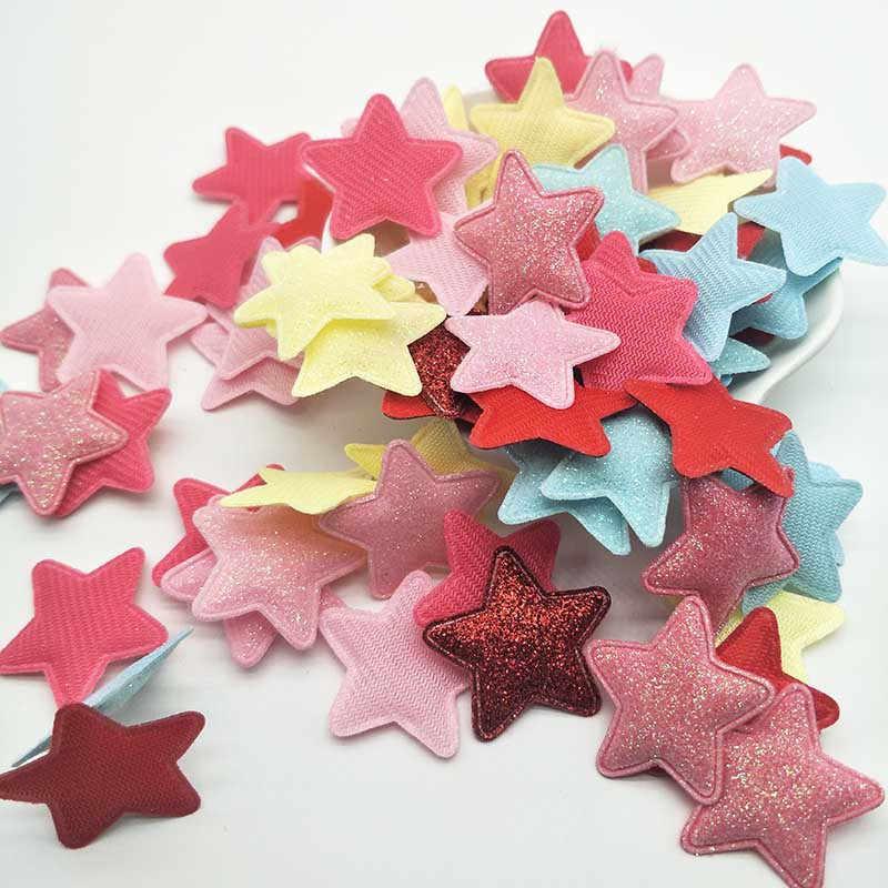 100 unids/lote 3,3 cm brillo estrella apliques acolchados para accesorios de Clip de bebé DIY parches chico y tarjetas de inserción de pastel
