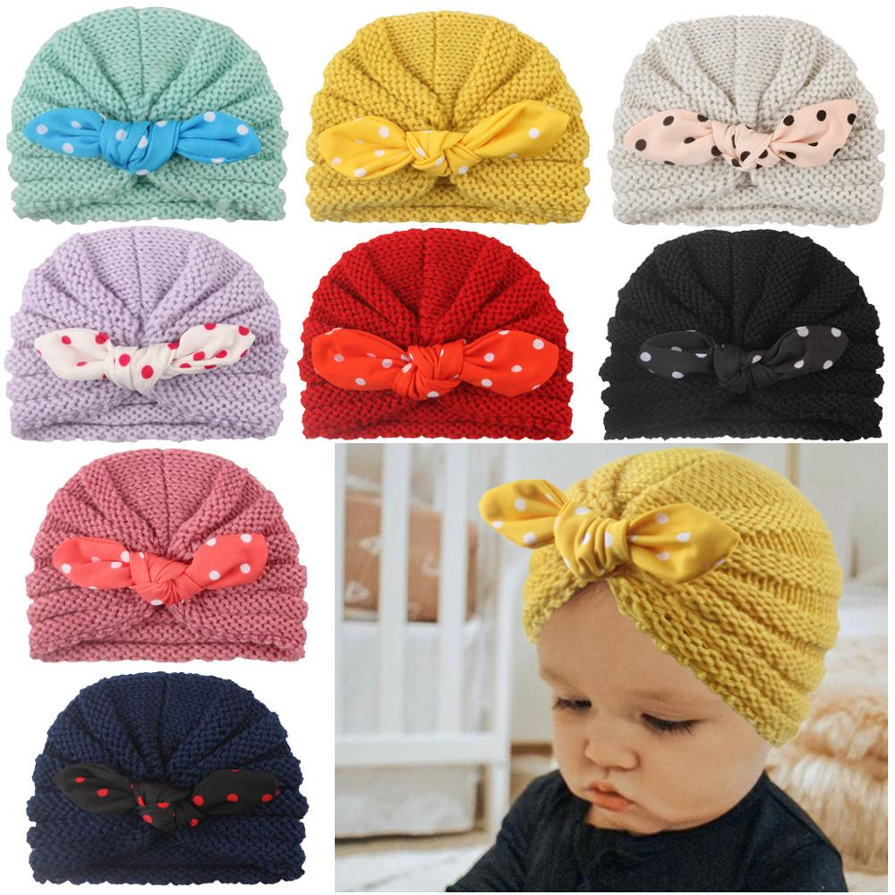 2Pcs Mom Mother /& Baby Child Warm Winter Twist Knot Turban Cap Cotton Beanie Hat