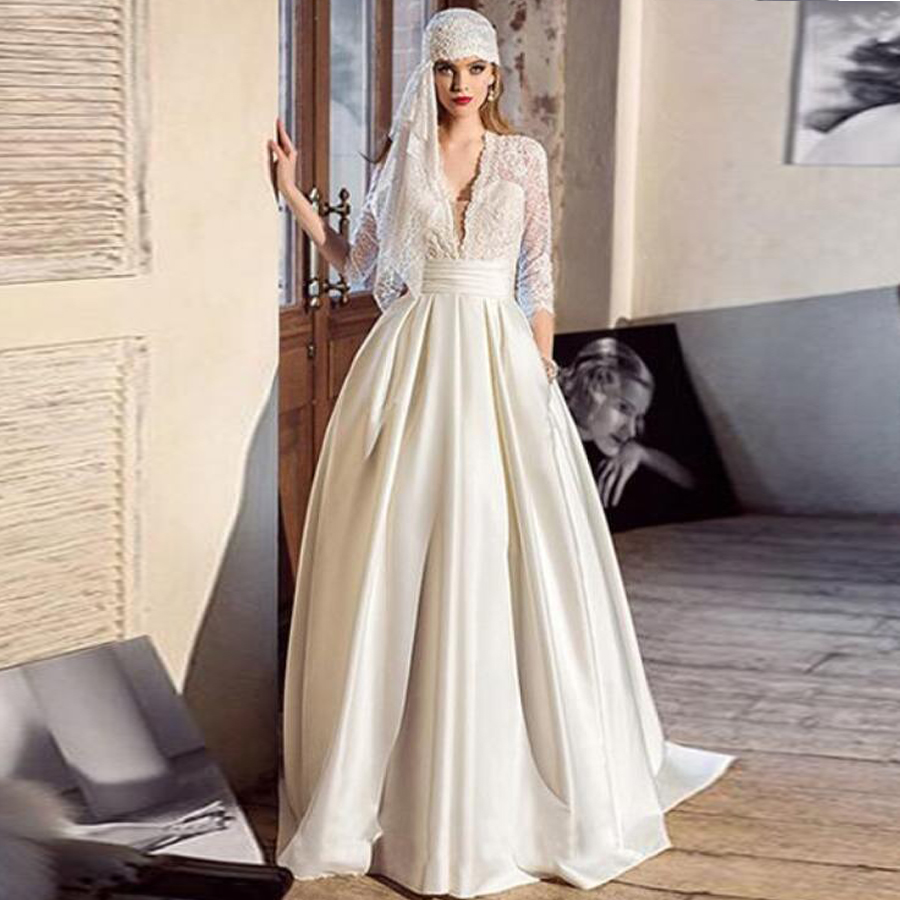 Satin V-neck Neckline Long Sleeve Lace A-line Wedding Dress Button Sweep Train Muslim Bridal Gowns Robe De Mariee With Pocket
