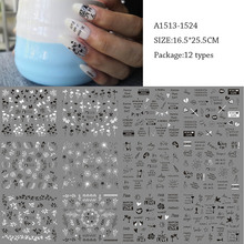 12 Styles Russian Alphabet Nail Sticker Decals Black White Plants Leaves Inscriptions Butterfly liders Manicure Decoration Toatt