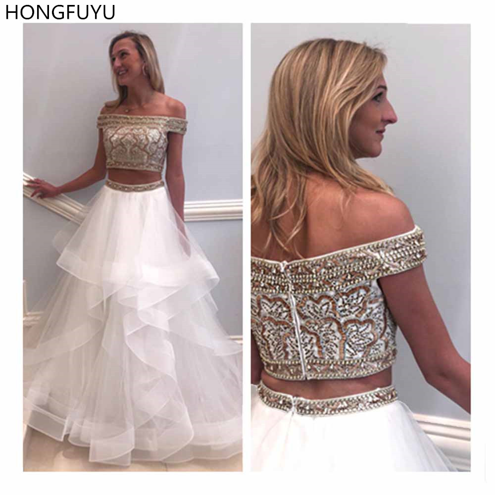 HONGFUYU Beading   Prom     Dress   A Line Two Pieces Long   Prom     Dresses   Evening Gowns vestidos largos de fiesta Tulle White Formal   Dress