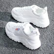 цены Zapatos mujer casuales 2019 nueva moda transpirable encaje-up PU Mujer zapatos Zapatillas cuñas sólidas mujeres Zapatillas zapat