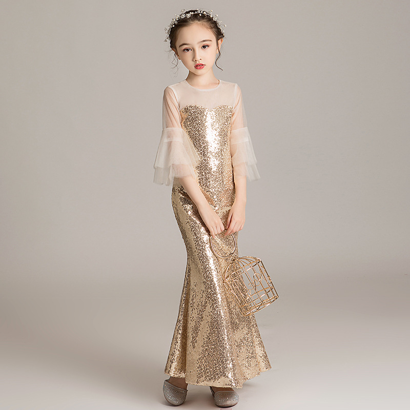 Gold Girl Wedding Dress Sequined Sexy Slim Mermaid Party evening hostess Dresses  Gown Catwalk Costume Kids Clothes Vestidos