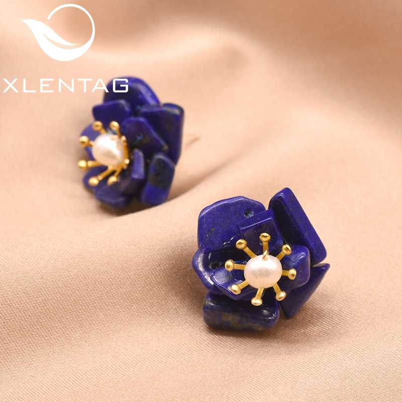 XlentAg Lapis Lazuli Stone Flower Earrings For Women Natural Fresh Water Pearl Stud Earrings For Party Silver 925 Jewelry GE0616