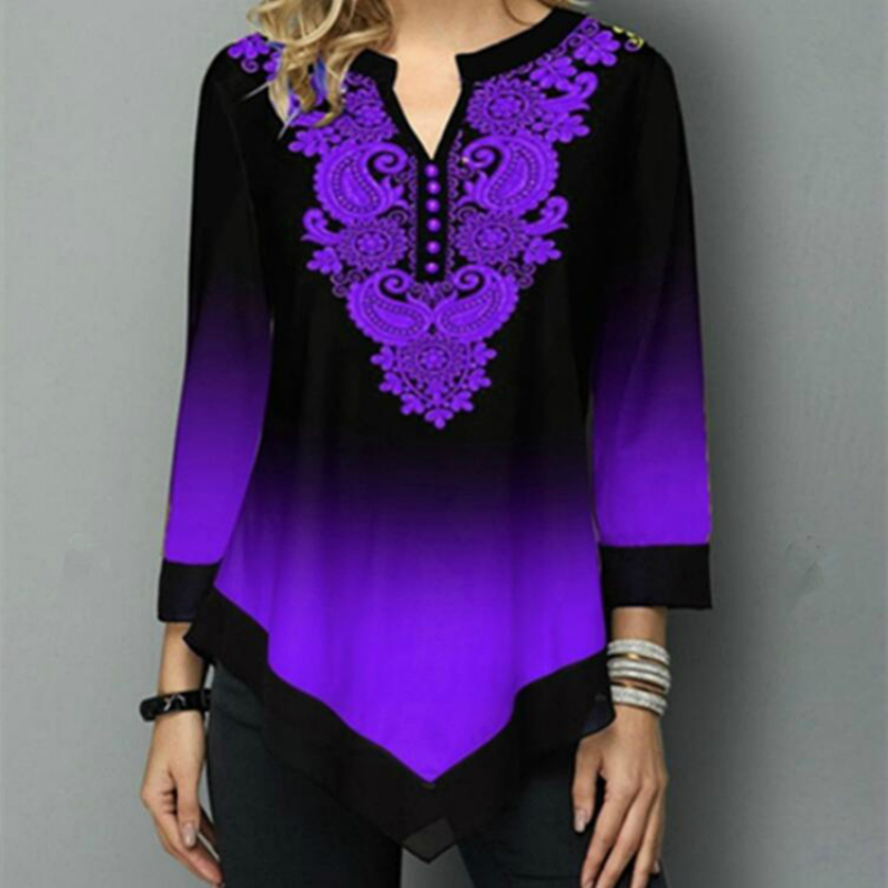 Vintage Print Women Blouse Shirt Long Sleeve V-neck Tops Women Women's Blouses Women's Clothings