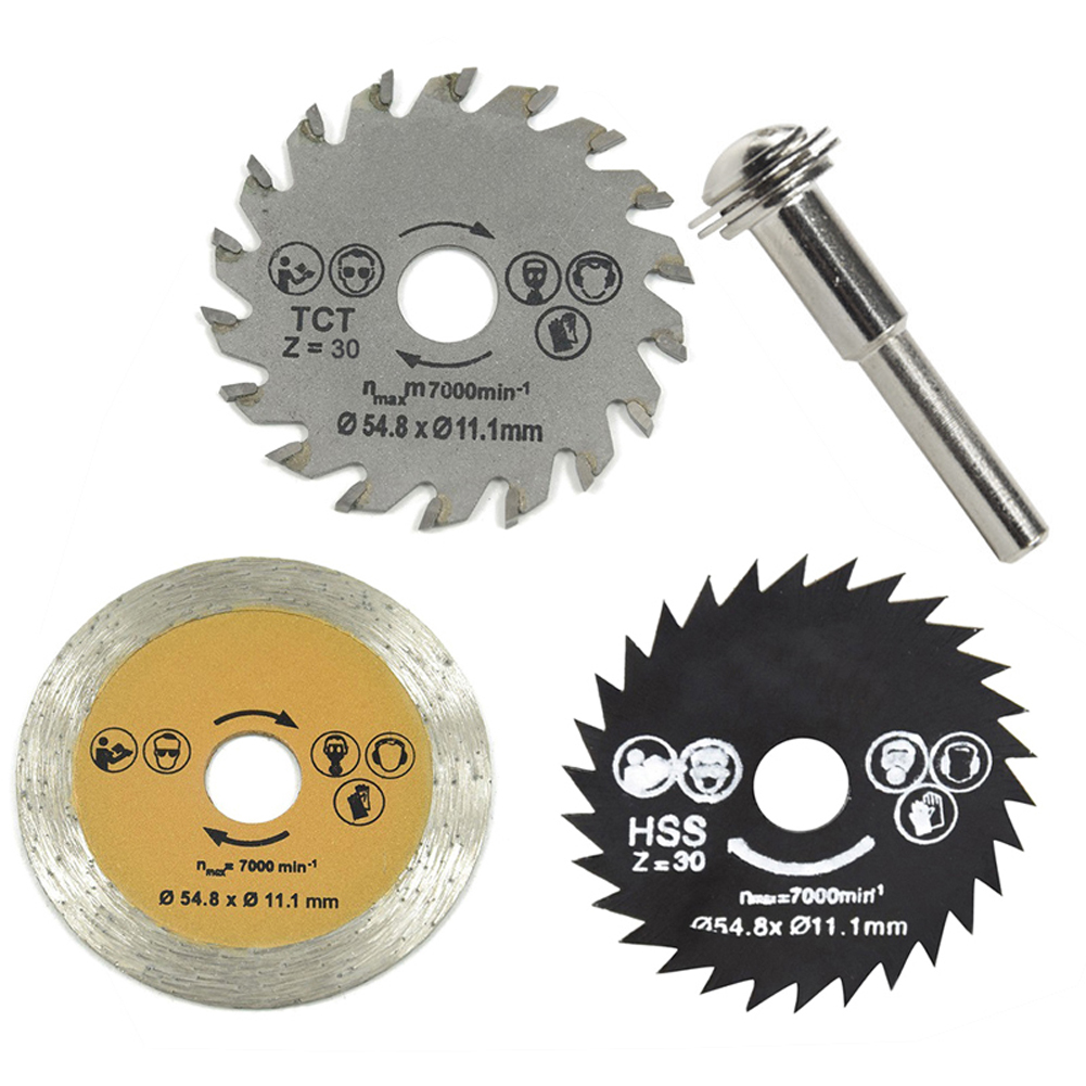 3pcs 54.8mm HSS Mini Wood Circular Saw Blade Set Cutting Blade Rotary Tool With Mandrel High Speed Steel Saw Blade For Industry