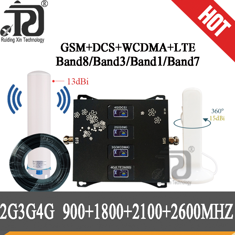 New!!900 1800 2100 2600 Mhz Four-Band 2g3g4g Cell Phone Cellular Amplifier GSM Repeater 4G Signal Booster GSM DCS WCDMA LTE Set