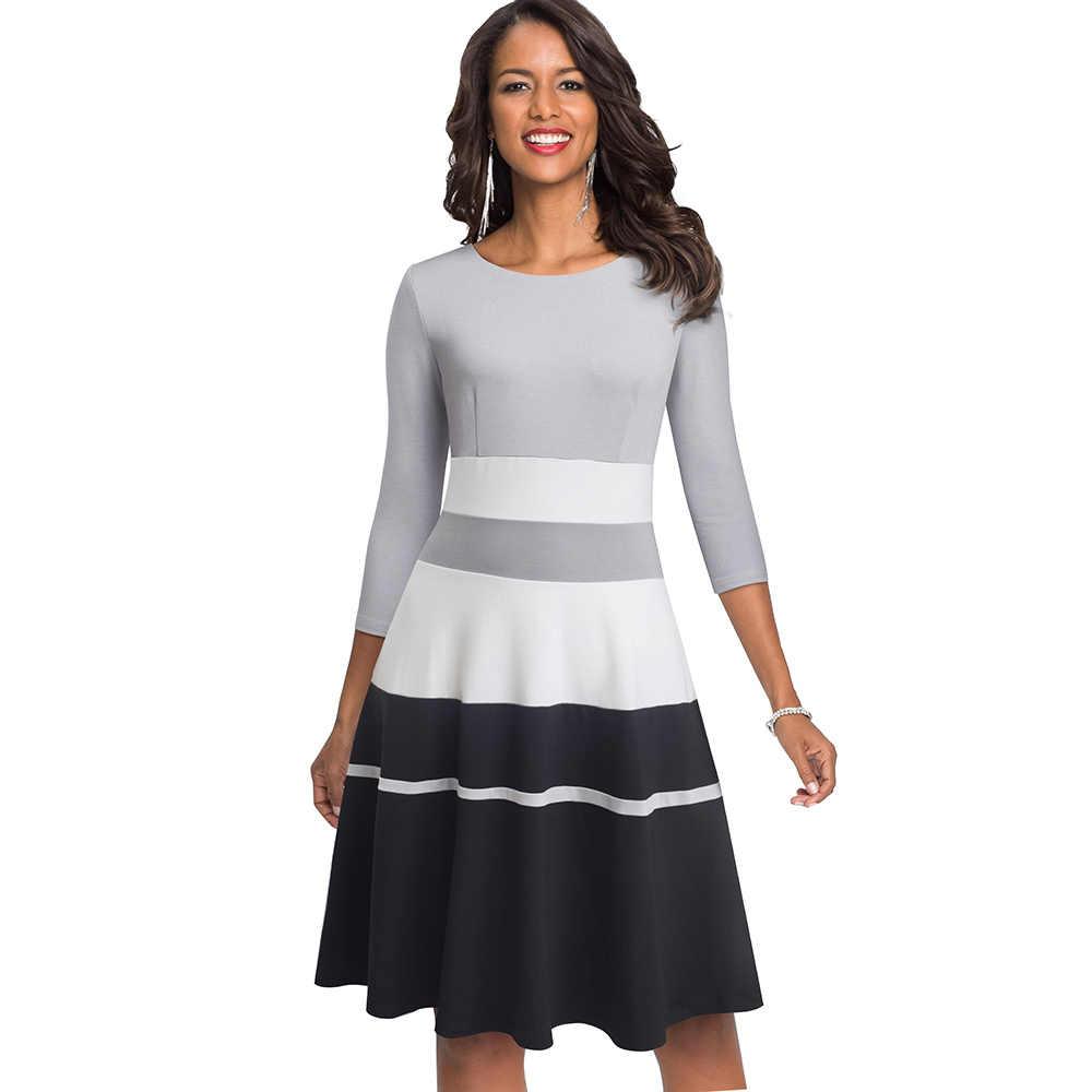 Nice-forever rétro élégant contraste couleur Patchwork robes fête d'affaires Flare a-ligne femmes robe d'hiver A173