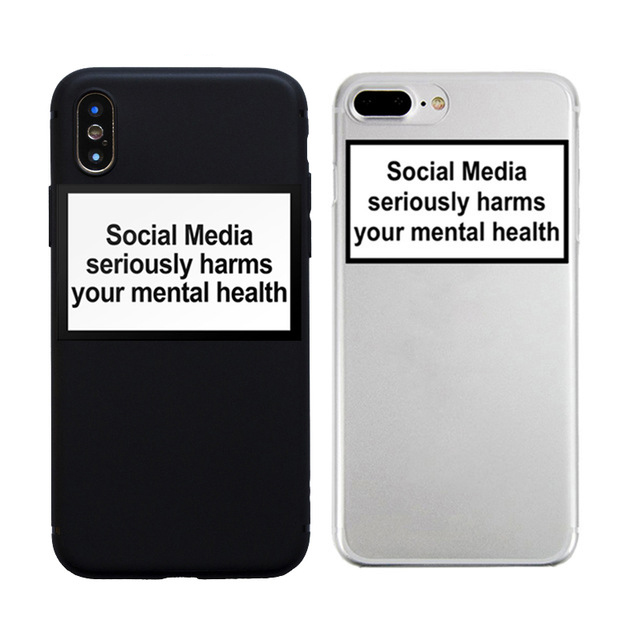 social media seriously harms your mental health soft Silicone clear cover phone case for iPhone X XR XS Max 6 7 8 plus 5 6s image