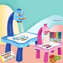 Dzieci uczące się malowanie tabeli ze światłem muzyka inteligentny projektor zabawki edukacyjne dla dzieci interaktywne narzędzie stół kreślarski biurko prezent tanie tanio CN (pochodzenie) MATERNITY 13-24m 25-36m 4-6y 7-12y 12 + y none Fantasy i sci-fi Color drawing board