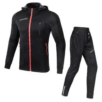цена на Cycling Set Winter Thermal Fleece Sportswear Windproof Jacket Trousers Outdoor Sport Suit Unisex Man Woman Clothing Set