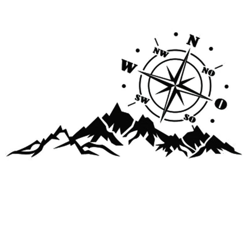 Высококачественная индивидуальная Автомобильная наклейка с компасом, компасом, навигацией, горами, бездорожью, ПВХ наклейка, не выцветает, ...