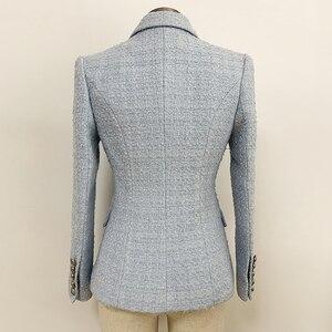Image 3 - HIGH STREET 2020 Newest Baroque Designer Blazer Womens Lion Metal Buttons Wool Tweed Blazer Jacket