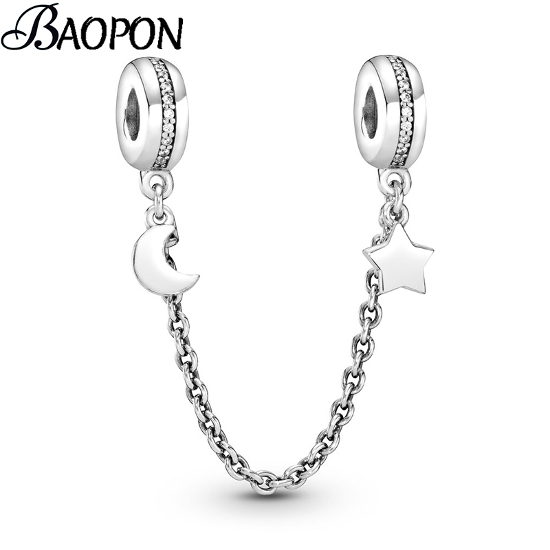 Authentic Silver Plated Beads Charm Pave Moon & Star Crystal Safety Chain Charms Fit Pandora Bracelets Women DIY Jewelry