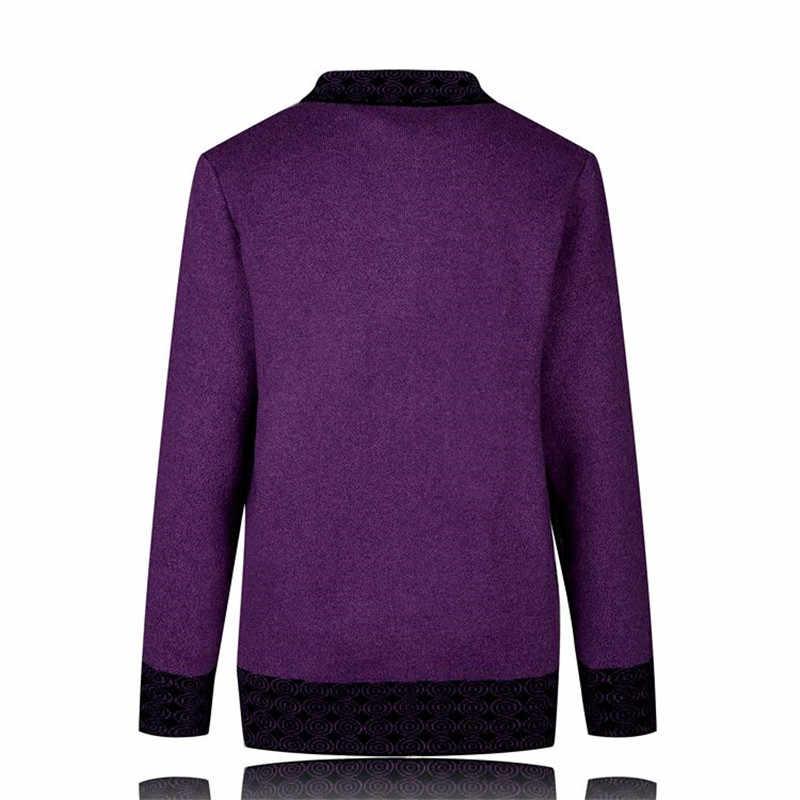 6xl 7xl 플러스 사이즈 새로운 가을 겨울 코트 중년 여성 캐주얼 니트 스웨터 카디건 싱글 브래지어 할머니 니트웨어 1108