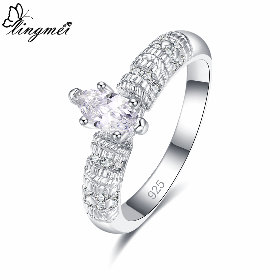 Lingmei Fantastic Engagement Marquise Cut White Cubic Zircon Silver Ring for Women Wedding Jewelry Size 6 7 8 9 Anniversary Gift