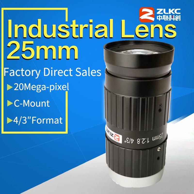 "Low distortion lens 25 mm 4/3"" 150lp/mm FA C Mount Industrial lenses Machine Vision Mini Camera  Low Light manual Iris CCTV lens|CCTV Parts| |  -"