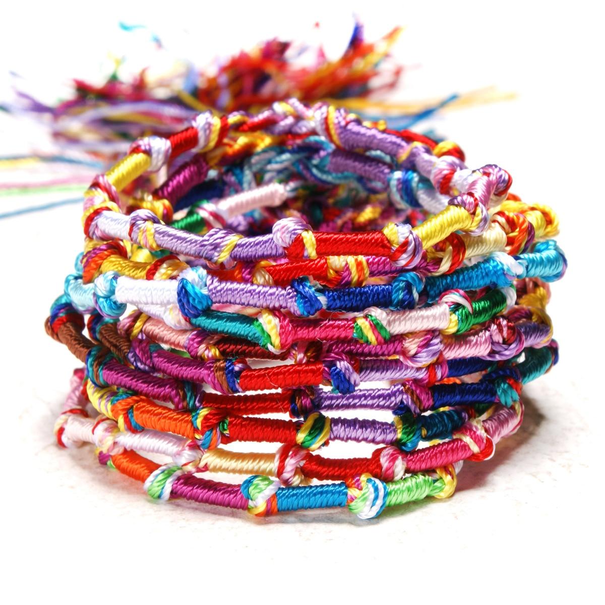 10pc Colorful Woven Braided Friendship Bracelet Handmade Brazilian String Cotton Cord Hippie Surf Men Women Jewelry Gift 1