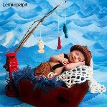 Новорожденный ребенок фотография�реквизит одежда мультфильм Рыбак ткачество шляпа +брюки полный год фотография Фото реквизит аксессуары