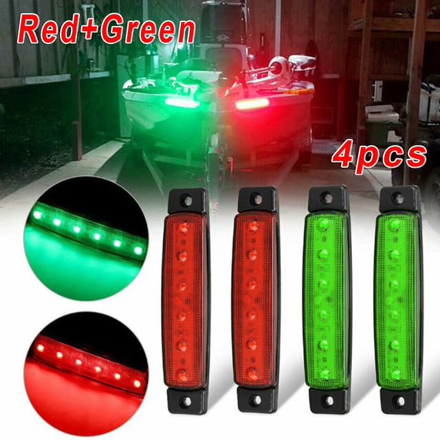 Car Styling High Quality Red+Green Navigation 6LED Lights Stern Boat Starboard Lamp Set DC12V Waterproof Low Power Consumption