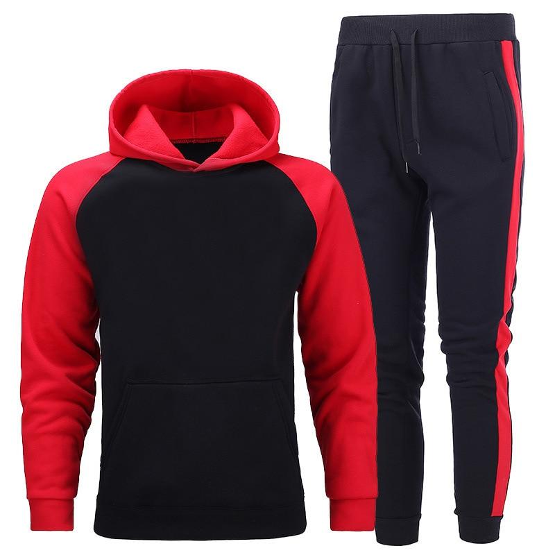 2020 de alta qualidade agasalho inverno hoodies calças 2 peça conjunto moda com capuz dos homens moletom esporte corredores moletom terno