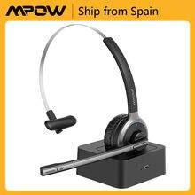 Mpow-auriculares inalámbricos M5 Pro con Bluetooth V5.0, dispositivo con micrófono de cancelación de ruido y Base de carga para oficina, PC, portátil y Skype