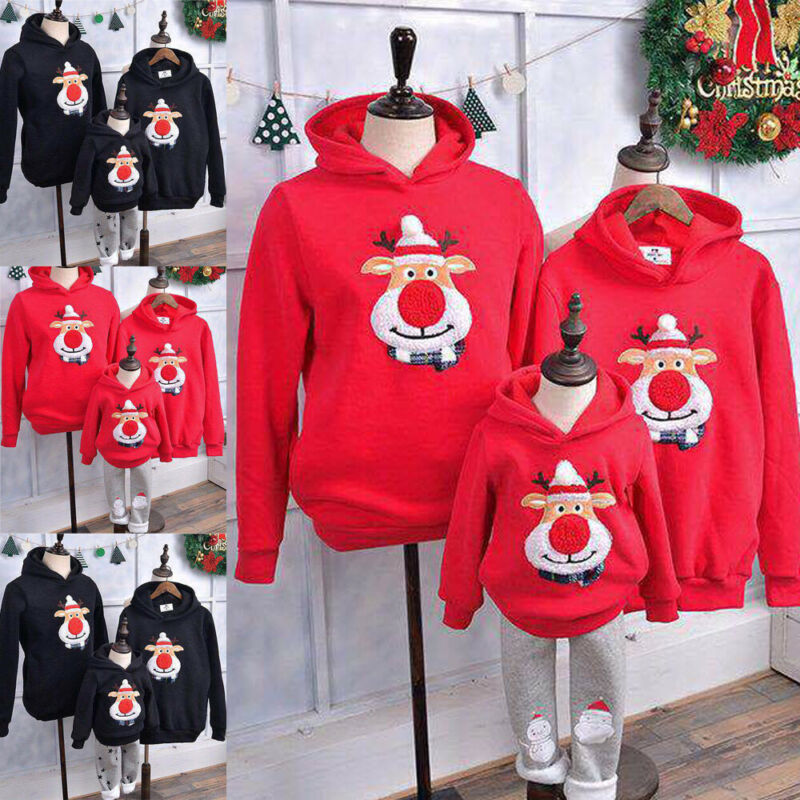 Christmas Clothes Mom Dad Kids Santa Claus Long Sleeve Hoodie Pullover Sweatshirt Jumper Family Matching Warm Autumn Casual Tops